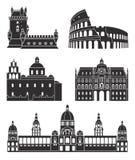 Южная Европа Европейские здания на белой предпосылке иллюстрация штока