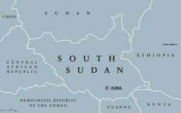 Южная карта Судана политическая иллюстрация вектора