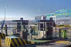 Южная Корея, пивничнокорейський контрольно-пропускной пункт границы Стоковые Изображения