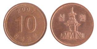 Южнокорейская монетка wons Стоковые Изображения RF