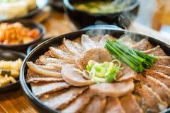 Южнокорейской еда испаренная говядиной Стоковые Изображения RF