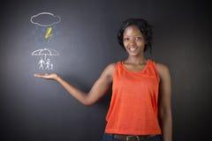 Южно-африканская или Афро-американская коммерсантка думая о защищая семье от стихийного бедствия Стоковое Изображение