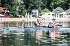 Южно-африканские спортсмены на rowing конкуренции чашки мира гребя Стоковое Фото
