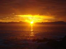 Южно-африканский заход солнца над морем Стоковое Изображение RF