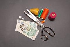Южно-африканский ранд и аксессуары для резать и шить Стоковые Изображения