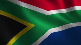 Южно-африканский флаг республики развевая 3d абстрактная предпосылка Анимация петли иллюстрация вектора