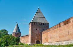 Южные башни стены 3 Смоленска Кремля Стоковая Фотография