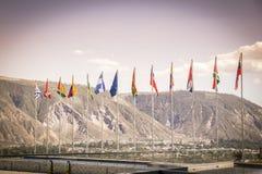 Южный - американские флаги в здании Unasur Стоковая Фотография