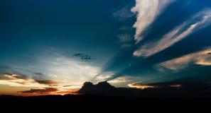 Южный заход солнца горы Стоковые Изображения
