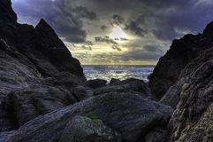 Южный заход солнца Девона стоковое изображение