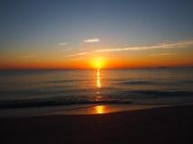 Южный заход солнца пляжа Стоковое фото RF