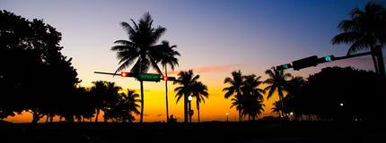 Южный заход солнца пляжа Стоковая Фотография RF