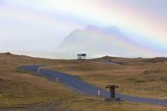 Южный исландский ландшафт с радугой Стоковые Изображения RF