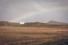 Южный исландский ландшафт с радугой Стоковое фото RF