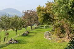 южный немецкий сад коттеджа Стоковые Изображения RF