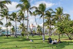 Южный променад пляжа, Miami Beach, Флорида Стоковые Фотографии RF