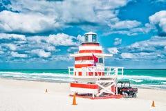 Южный пляж, Майами, Флорида, дом личной охраны стоковые фотографии rf