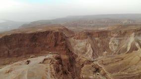 Южный район района крепости Masada южного района морского района Израиля мертвого Израиля Старая еврейская крепость  сток-видео