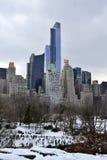 Южный Central Park между снегом Стоковая Фотография