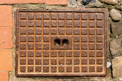 люк -лаз крышки ржавый Стоковое фото RF