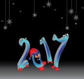 юмористическая рождественская открытка - приветствие от 2017 год бесплатная иллюстрация