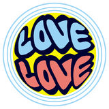 Юмористическая эмблема с словом & x22; love& x22; стоковая фотография