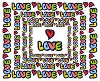 Юмористическая эмблема с словом & x22; love& x22; стоковая фотография rf