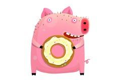 Юмористический донут удерживания свиньи иллюстрация штока