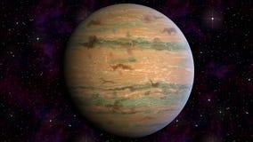 Юпитер вращает на предпосылке звёздного неба Видео- цикл петли анимации сток-видео