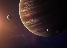 Юпитер снял от космоса показывая всем их Стоковая Фотография