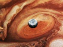 Юпитер с спутниковым Europa Стоковое Фото