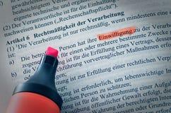 Юридический текст поступка предохранения от первичных данных как общественный закон EC с акцентом на согласие статьи 6 и объяснен стоковые изображения