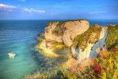 Юрский мел побережья штабелирует старые утесы Дорсет Англию Великобританию Гарри к востоку от Studland как картина Стоковая Фотография