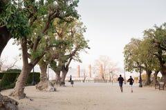 2 люд бегут в parc стоковое изображение rf