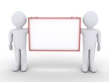2 люд держат пустой знак иллюстрация вектора