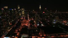Юлить nighttime Нью-Йорка видеоматериал
