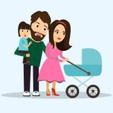 люди Большинств молодые семья, дети и родители счастливые, иллюстрация Стоковое Изображение