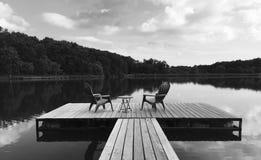 люди озера рыболовства шлюпки Стоковая Фотография
