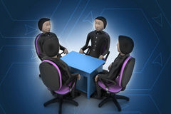 люди 3d в деловой встрече Стоковое Фото