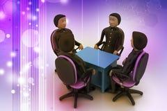 люди 3d в деловой встрече Стоковое Изображение RF