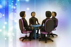люди 3d в деловой встрече Стоковые Фотографии RF