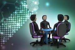 люди 3d в деловой встрече Стоковые Изображения RF