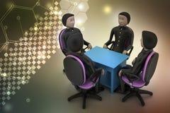 люди 3d в деловой встрече Стоковая Фотография