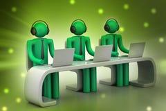 люди 3d в современном столе с компьтер-книжкой Стоковые Изображения
