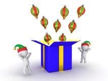 люди 3D и подарочная коробка с глобусами Стоковые Фото