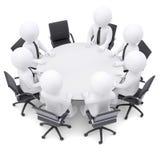 люди 3d на круглом столе. Один стул пуст Стоковые Фото