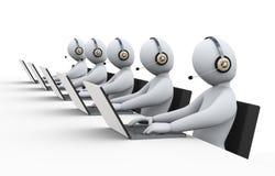 люди 3d на поддержке центра телефонного обслуживания Стоковые Изображения