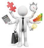 люди 3d спрашивают белизну Бизнесмен Multitasking Стоковое Изображение