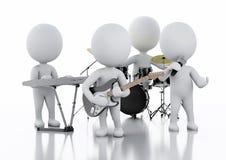 люди 3d спрашивают белизну Группа музыки на белой предпосылке Стоковые Фото