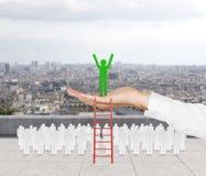 люди 3d стоя на стене Стоковое Изображение